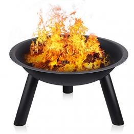 INTEY Feuerschale in Garten Feuerstelle Feuerkorb(55.5 * 31.5cm) mit Stativ, Abriebfest und Langlebig, Bequeme Outdoor-Grill Heizung Werkzeug - 1
