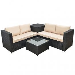 Jalano Poly Rattan Lounge SM1 Set Gartenmöbel Gartengarnitur anthrazit - 1
