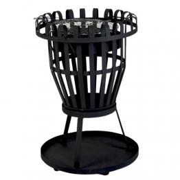 Kamino Flam Grill und Feuerkorb Nika, Feuerschale mit Grillrost, runder Gartenkamin mit Dreibein-Gestell, schwarz, pulverbeschichtetes Stahlblech - 1