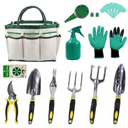 KEAYOO Gartenwerkzeuge Set - 12 in 1 Set mit Rostfrei Gartengräte, Tasche, Gartenhandschuhe, Seed Tasche und Sämann, Plant Labels - Ideale Geschenk für Oma - 1