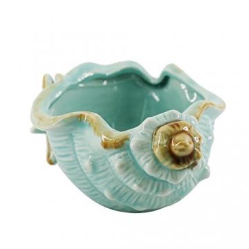 Keramik Blau Conch Blumentopf Conch Ornamente Hausgarten Dekoration Blumentopf (Blue) - 2
