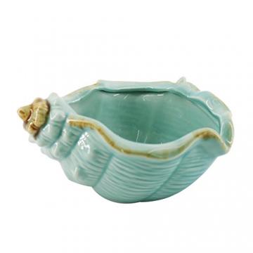 Keramik Blau Conch Blumentopf Conch Ornamente Hausgarten Dekoration Blumentopf (Blue) - 3