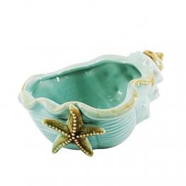 Keramik Blau Conch Blumentopf Conch Ornamente Hausgarten Dekoration Blumentopf (Blue) - 1