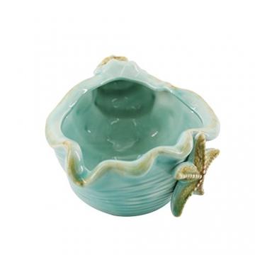 Keramik Blau Conch Blumentopf Conch Ornamente Hausgarten Dekoration Blumentopf (Blue) - 4