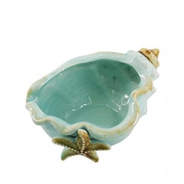 Keramik Blau Conch Blumentopf Conch Ornamente Hausgarten Dekoration Blumentopf (Blue) - 5