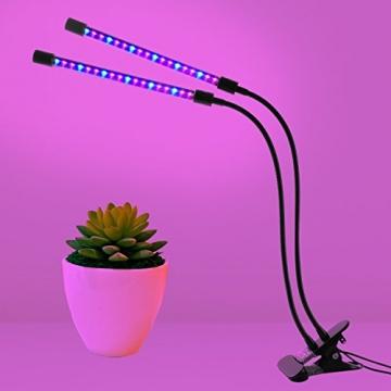 LED-Beleuchtung mit Timer, 18W, 36-Duschkopf mit LED, Rot, Blau, für Zimmerpflanzen Gewächshaus, Garten Hydrokulturen–9, dimmbar, 3/8/12h-Timer-Funktion, um 360° verstellbarer Schwanenhals - 2