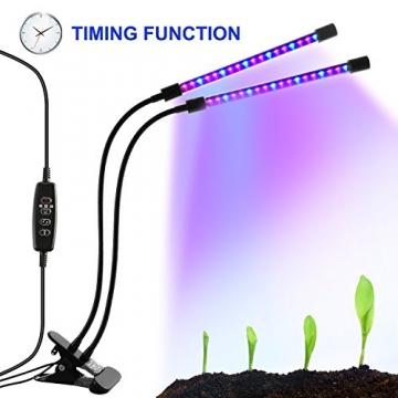 LED-Beleuchtung mit Timer, 18W, 36-Duschkopf mit LED, Rot, Blau, für Zimmerpflanzen Gewächshaus, Garten Hydrokulturen–9, dimmbar, 3/8/12h-Timer-Funktion, um 360° verstellbarer Schwanenhals - 1