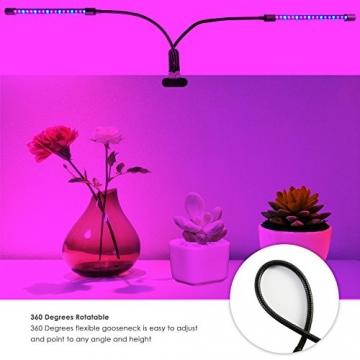LED-Beleuchtung mit Timer, 18W, 36-Duschkopf mit LED, Rot, Blau, für Zimmerpflanzen Gewächshaus, Garten Hydrokulturen–9, dimmbar, 3/8/12h-Timer-Funktion, um 360° verstellbarer Schwanenhals - 6