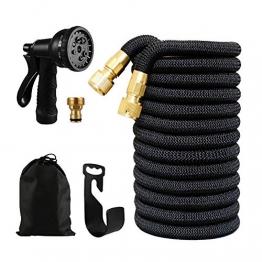 MEACOM Flexibler Gartenschlauch, Wasserschlauch Flexischlauch Dehnbar Schlauch Sprühpistole mit 8 Funktion für Gartenarbeit Autowäsche und Haustiere Duschen (Schwarz -15m) - 1