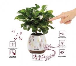 Musik Blumentopf, Wireless Bluetooth-Lautsprecher, LED Licht Smart Touch Musik Blumentopf von Multicolor Nachtlicht, Play Piano Musik auf eine reale Anlage mit bunten LED-Leuchten - 1