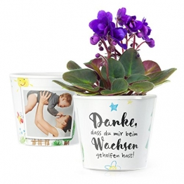 MyFacepot Blumentopf (ø16cm) | Geschenk für Erzieherin im Kindergarten, mit Rahmen für 2 Fotos (10x15cm) | Danke dass du mir beim wachsen geholfen hast - 1