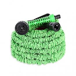 Ohuhu Gartenschläuche, 15m/50ft Ausziehbarer Schlauch mit 7-Phasen-Düse, Flexibler Gartenschlauch ausgedehnt, Wasserschlauch Flexibel, Gartenteichschlauch Dehnbar - 1