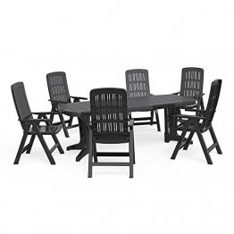OSKAR Gartenmöbel 6+1 Sitzgruppe Tisch 220 x 95 cm Gartengarnitur Gartenset Sitzgarnitur Kunststoff Set - 1