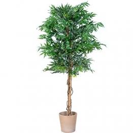 PLANTASIA® Marihuana-Strauch, Echtholzstamm, Kunstbaum, Kunstpflanze - 150 cm, Schadstoffgeprüft - 1