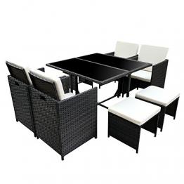 Poly Rattan Essgruppe Rattan Set mit Glastisch Garnitur Gartenmöbel Sitzgruppe Lounge (4 Stühle, Schwarz) - 1
