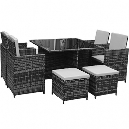 Polyrattan Lounge Gartenmöbel Set Garnitur Sitzgruppe Gartenmöbel SJ08 (Grau) - 1