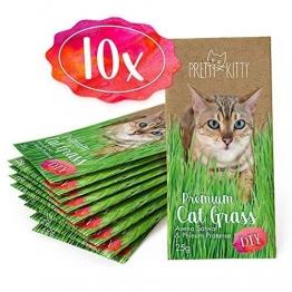PRETTY KITTY 10x Premium Katzengras Samen von PrettyKitty, 10 Beutel Set mit Saatmischung für 100 Töpfe - 1