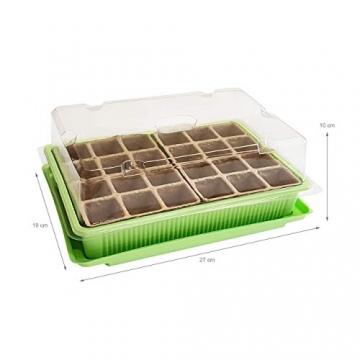 Quantio 2X Mini Gewächshaus - für bis zu 48 Pflanzen, ca. 27 x 19 x 10 cm (LxBxH) je Zimmergewächshaus, Grün/Transparent, Kunststoff/Zellulose - 2