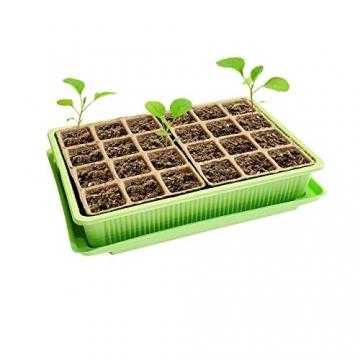 Quantio 2X Mini Gewächshaus - für bis zu 48 Pflanzen, ca. 27 x 19 x 10 cm (LxBxH) je Zimmergewächshaus, Grün/Transparent, Kunststoff/Zellulose - 3
