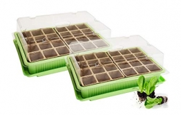 Quantio 2X Mini Gewächshaus - für bis zu 48 Pflanzen, ca. 27 x 19 x 10 cm (LxBxH) je Zimmergewächshaus, Grün/Transparent, Kunststoff/Zellulose - 1