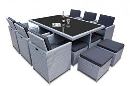 Ragnarök-Möbeldesign PolyRattan - DEUTSCHE Marke - EIGNENE Produktion - 8 Jahre GARANTIE auf UV-Beständigkeit Gartenmöbel Essgruppe Tisch + 6 Stühle & 4 Hocker 16 Polster Platinum Grau - 1
