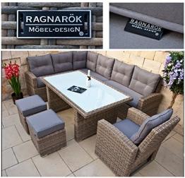 RAGNARÖK PolyRattan hohe Dinning Lounge - DEUTSCHE Marke - EIGENE Produktion - 8 Jahre GARANTIE Gartenmöbel Essgruppe Hocker Sessel verstellbare Lehn Naturfarben Rundrattan - 1