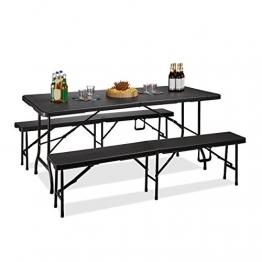 Relaxdays Bierzeltgarnitur klappbar Bastian, 3-teiliges Gartenmöbel Set, einfarbig, H x B x T: 73 x 180 x 75 cm, schwarz - 1