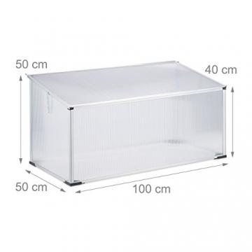 Relaxdays Frühbeet Alu, Stecksystem, lichtdurchlässig, UV-Schutz, Mini Gewächshaus, HxBxT: 100 x 50 x 50 cm, transparent - 2