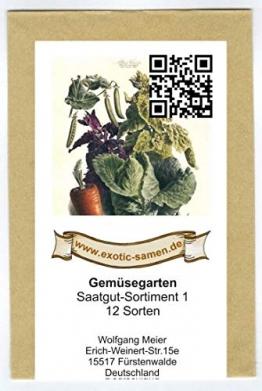 Samen - Saatgutsortiment - Set - Mix - Mischung - kleiner Gemüsegarten Startset - 12 Sorten - 1.380 Samen - 1