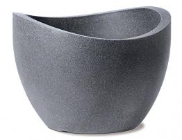 Scheurich Wave Globe, Pflanzgefäß aus Kunststoff, Schwarz-Granit, 40 cm Durchmesser, 22,2 cm hoch, 8 l Vol. - 1