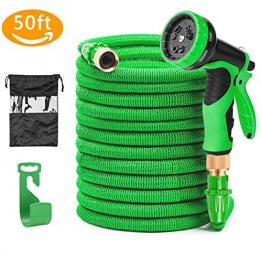 Soar Flexibler Gartenschlauch, 15M 50FT Auslaufsicheres Design FlexiSchlauch Dehnbar 9 Funktion mit Aufhänger für Bewässerung Gartenarbeit Autowäsche Reinigung - 1