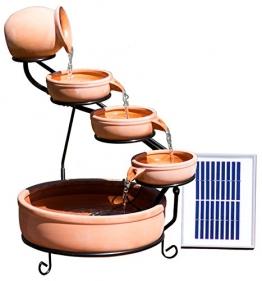 Solaray Terrakotta Solar Kaskadenbrunnen mit LED-Beleuchtung H55cm - 1