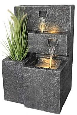 Springbrunnen Grada Bepflanzbar mit LED Beleuchtung, Wasserfall Gartenbrunnen Kaskade Terrassenbrunnen - 1