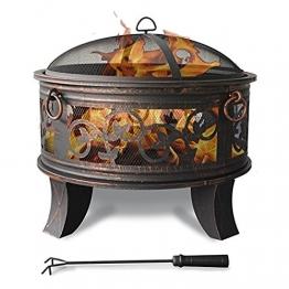 Stahl Feuerschale 66cm Feuerstelle schwarz Klassik Stil Feuerkorb robust Schürhaken Standbeine Schutzdeckel Funkenhaube - 1