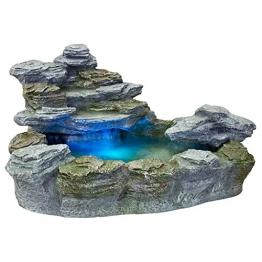 STILISTA Mystischer Gartenbrunnen OLYMP in Steinoptik 100x80x60cm groß Springbrunnen inkl. Pumpe und LED- Beleuchtung rot blau gelb grün - 1