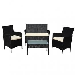 SVITA Gartenmöbel Poly Rattan Sitzgruppe Essgruppe Set Sofa-Garnitur Lounge Braun, Grau oder Schwarz (Schwarz) - 1