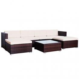 SVITA Lugano Poly Rattan Lounge Garten-Set XXL Sofa-Set Garnitur Gartenmöbel Couch-Set (XXL, Braun) - 1