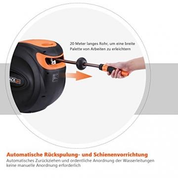 TACKLIFE Schlauchtrommel, 30+2m Schlauchaufroller 180° Schwenkbar Wand-Schlauchbox, Kurze Arretierstops Gartenschlauch, Automatischer Rückzug Schienenvorrichtung, GHR2A - 3