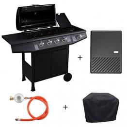 TAINO® Basic Gasgrill Grillwagen BBQ Edelstahl-Brenner + Seitenkocher Gas-Grill TÜV Schwarz (4+1 Gasgrill Set + Grillplatte) - 1