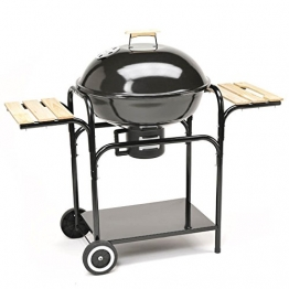TAINO Kugelgrill 57 cm Durchmesser Holzkohle-Grill Smoker Standgrill mit Deckel - Große Grillfläche in Schwarz - 1