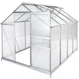 TecTake Aluminium Gewächshaus Gartengewächshaus Treibhaus - Diverse Modelle - (250x185x195 cm mit Fundament | Nr. 402475) - 1