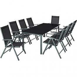 TecTake Aluminium Sitzgarnitur 8+1 Sitzgruppe Gartenmöbel Tisch & Stuhl-Set - Diverse Farben - (Dunkelgrau | Nr. 402164) - 1