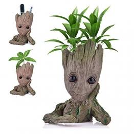 Udream Baby Groot Blumentopf Figur - Übertopf Groß Aquarium Deko Figur Holz Aschenbecher Stiftehalter - Innen - 1