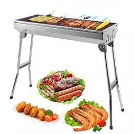 Uten BBQ Grill Picknickgrill Tragbarer Klappgrill Rost Holzkohlegrill Edelstahl Barbecue Holzkohle Grill Für BBQ Party Garten Camping 74X33CM Grillfläche-groß - 1