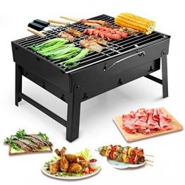 Uten Holzkohlegrills BBQ Portable Smoker Grill, Faltbare Grillwagen Outdoor Tischgrills Picknickgrill für Garten Camping Party Barbecue - 1