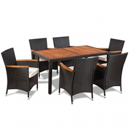 vidaXL Gartenmöbel 13-TLG. Essgruppe Sitzgruppe Sitzgarnitur Poly Rattan Akazie - 1