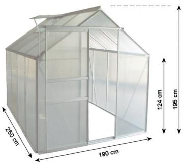 Zelsius Aluminium Gewächshaus für den Garten | inklusive Fundament | 250 x 190 cm | 4 mm Platten | Vielseitig nutzbar als Treibhaus, Tomatenhaus, Frühbeet und Pflanzenhaus - 3