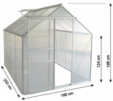 Zelsius Aluminium Gewächshaus für den Garten | inklusive Fundament | 250 x 190 cm | 6 mm Platten | Vielseitig nutzbar als Treibhaus, Tomatenhaus, Frühbeet und Pflanzenhaus - 3