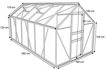 Zelsius Aluminium Gewächshaus für den Garten | inklusive Fundament | 380 x 190 cm | 6 mm Platten | Vielseitig nutzbar als Treibhaus, Tomatenhaus, Frühbeet und Pflanzenhaus - 2