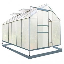Zelsius Aluminium Gewächshaus für den Garten | inklusive Fundament | 380 x 190 cm | 6 mm Platten | Vielseitig nutzbar als Treibhaus, Tomatenhaus, Frühbeet und Pflanzenhaus - 1
